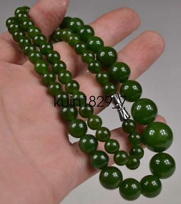 Old Collectible Oriental natural green jade beads necklace LQ420