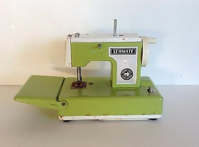 Vintage Sew Mate Battery Operated Toy Sewing Machine Green Tin Japan as found