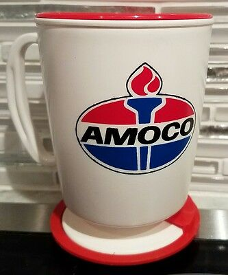 NEW AMOCO USA Red White Blue Insulated Plastic Coffee Travel Mug ~ collectable