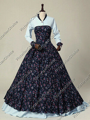 Victorian Civil War Summer Floral Print Prairie Gown Dress Theater Clothing 128