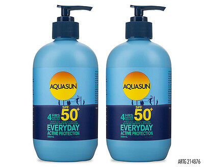 2 x Aquasun SPF 50+ Everyday Active Protection Sunscreen 500mL