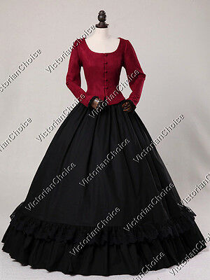 Victorian Downton Abbey Christmas Caroler Velvet Dress Gown Theater Costume 116