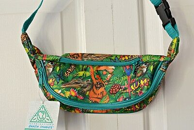 NWT 1993 Vintage Rainforest Print Fanny Pack Bum Bag by Earth Images