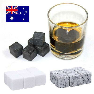 Whisky Ice Stones Drinks Cooler Cubes Whiskey Scotch Rocks Granite & Pouch 6PCS