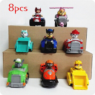 Paw Patrol Complete full set 8 Pcs Racer Pups Characters Figures Kids Toys Gift