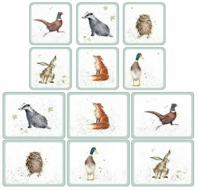 Set Of 6 Owl Badger Hare Duck Pheasant Fox Heat Resistant Placemats & Coasters