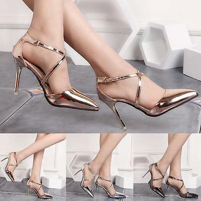 2017 New Women Pointed Toe High Heels Shoes Wedding Party Shoes Gold Silver