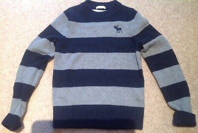 Boys Abercrombie & Fitch Kids Navy & Grey Striped Jumper Size S Muscle Fit 28""