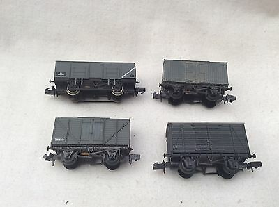 N GAUGE PECO / GRAFAR -  RAKE OF 4x BR GREY CLOSED / OPEN  BOX WAGONS