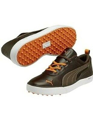 Puma Monolite  V2 Golf Shoes Spikless Bison Brown-Spicey Orange UK7