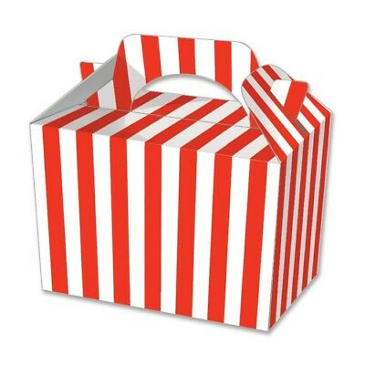 10 Red Stripe Party Boxes - Food Loot Lunch Cardboard Gift Stripey Popcorn