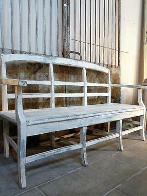 Early 19th century French bench seat - white banquette walnut & fir