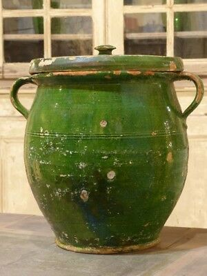 Large green French pot with lid – 19th century