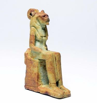 Good sized amulet of seated goddess Sekhmet: Circa 715-332 BC.