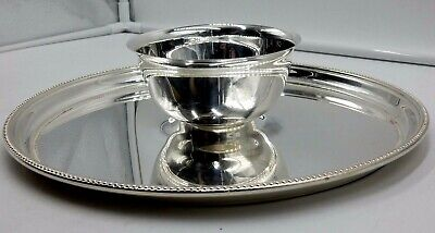 "Towle Silver Plate 12-1/4"" Round Serving Platter / Tray & Dip Bowl"