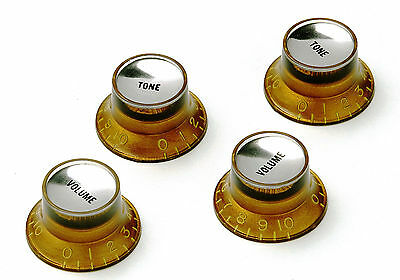 Gold Reflector Knob Set Silverface True Historic Time Machine fits to Les Paul®