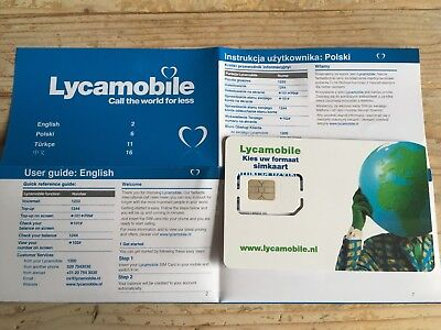 ACTIVATED: Lyca NL 3 in 1 PREPAID SIM CARD | 4G data ready Netherlands Holland