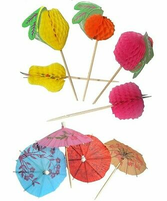 72 Mixed Paper Cocktail Umbrellas Parasols & Fruit Party Tropical Drinks