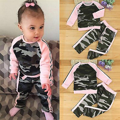 2PCS Toddler Kids Baby Girls camouflage Outfits Shirt Tops +Pants Clothes Set