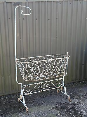 Antique Victorian Iron Baby Swinging Crib Cot Project, Display Prop