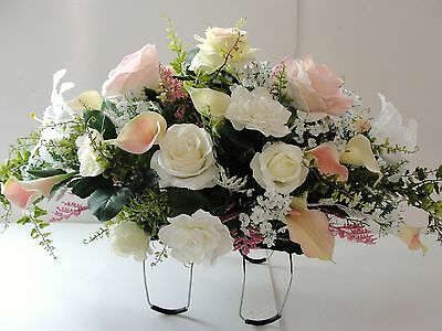 Sympathy Pale Pink White Silk Flowers Grave Cemetery Spray Arrangement Two Sided