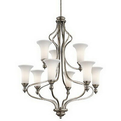 Kichler Antique Pewter And Satin Etched Glass 9 Light Chandelier