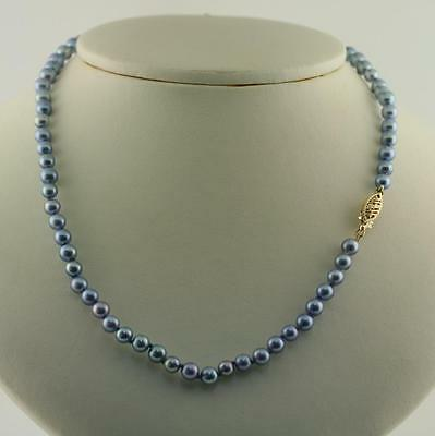 Japanese Akoya Pearl Necklace Authentic Blue 4.5 -5 mm 16 inch 14K Gold Clasp