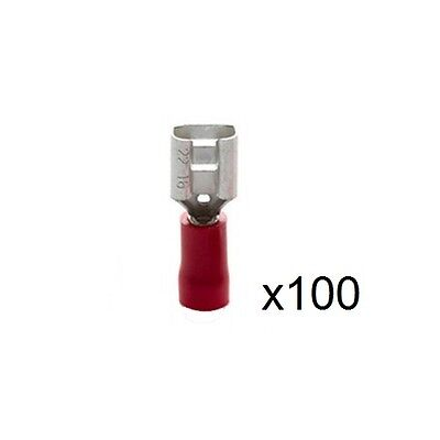 100x 1.5mm² Insulated Red Female Crimp/Spade Push-On Connector 6.3mm RF6608VR