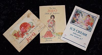 3 Vintage 1927, 1928, & 1930 Collectible Jell-O Brand Recipe Booklets