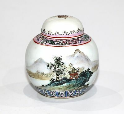 Chinese Small Ginger Jar Pot Hand Painted Scenic Motif Famille Rose Detail