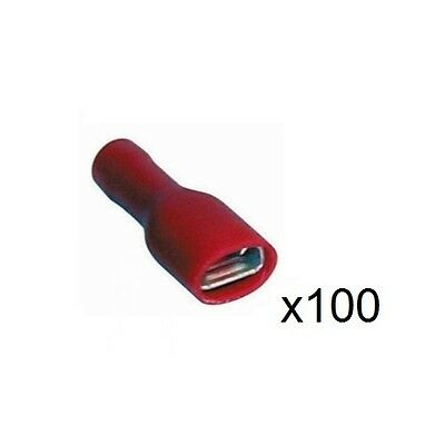 100x 1.5mm Fully Insulated Red Female Crimp/Spade Push-On Connector 6.3mm RF66F