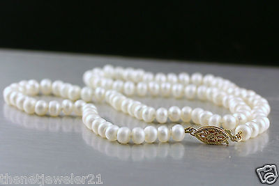 5mm White Freshwater Pearl Necklace with 14K Yellow Gold Clasp