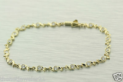 Bracelet Solid 14k Yellow Gold Twist Link Chain Barrel Side Safety Clasp