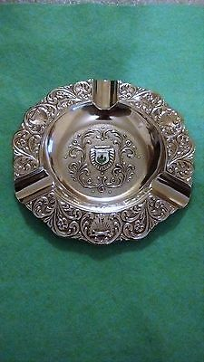Beautiful Vintage Silver Plate Ashtray With Ceramic Scotland Thistle Motif