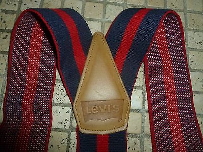 Vintage Levi's USA Striped Red & Blue Wide Suspenders Leather/Button