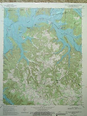 1960's Dale Hollow Reservoir SE TN KY Vintage Topographic Map Survey Engineering