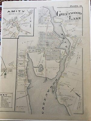 Orig 1903 Amity, Greenwood Lake, Orange County, New York Mueller Plat Atlas Map