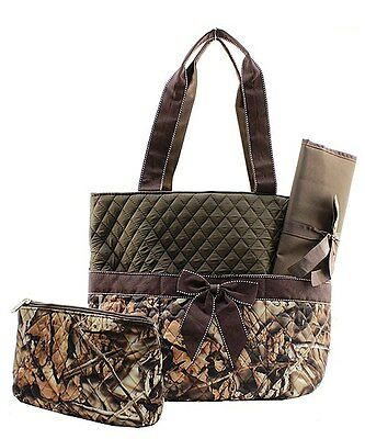 New 3 PC Camo Diaper Bag Set Tote Baby Changing Pad Mossy Quilted Camouflage Bag