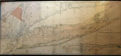 Orig 1842 Mather, Long & Staten Islands, Manhattan, Nj Geological Map Lithograph