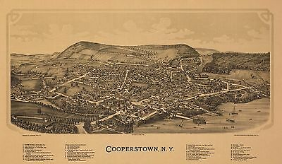 1890 Bird's Eye View Of Cooperstown, Ny Baseball Hall Of Fame Copy Poster Map