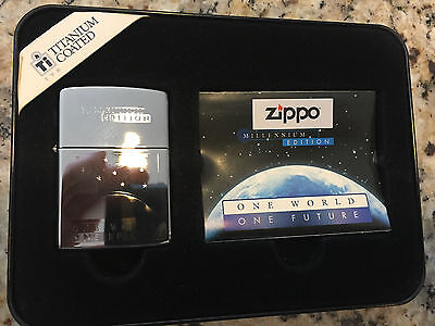 ZIPPO MILLENNIUM EDITION ONE WORLD ONE FUTURE TITANIUM COATED LIMITED New