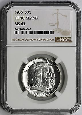 1936 Long Island Commemorative Half Dollar 50C MS 63 NGC