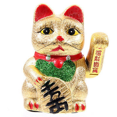 A Chinese Lucky Fortune Waving Gold Cat Figure with Moving Arm Feng Shui Money