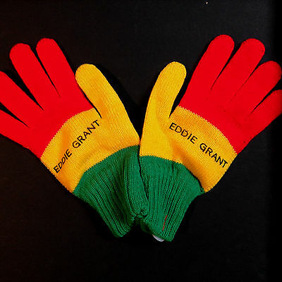 Eddie Grant - Vintage 1980's Reggae Gloves. Unworn, As New Still Attached. Rasta