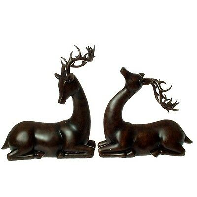 "Set of 2 Mahogany Deer 14"" Christmas Decor Raz Imports Brown Centerpiece"
