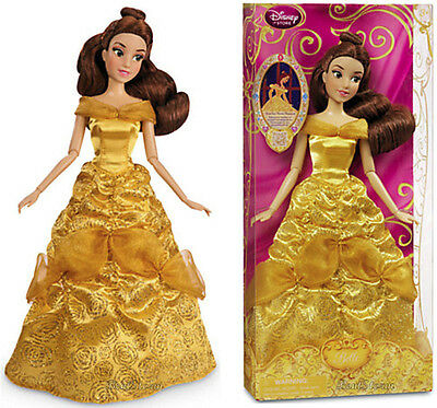 "NEW 2013 Disney Store 12"" Beauty and The Beast Princess BELLE Classic doll Gown"