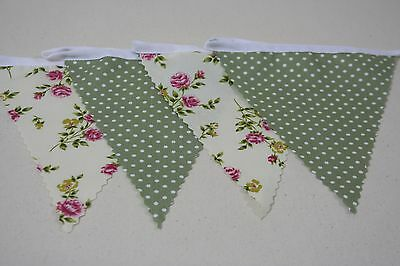 Cream Rose print and Sage green Mini Spot fabric single Side Bunting 20ft long