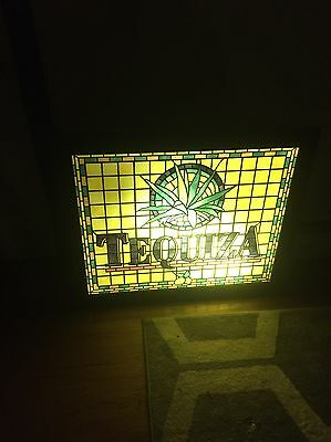 Tequiza Lighted Bar Sign Stained Glass Vintage Beer Shadow Box