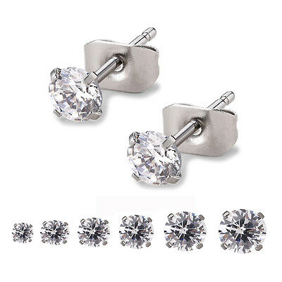 3mm-8mm Round Clear Cubic Zirconia Stainless Steel Earrings Ear Studs Women Men
