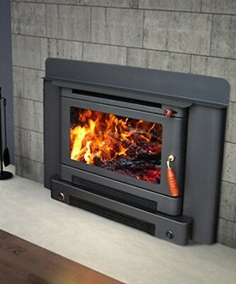 Wood Heater Ecomaxx Premium Inbuilt - Metallic Black Fireplace